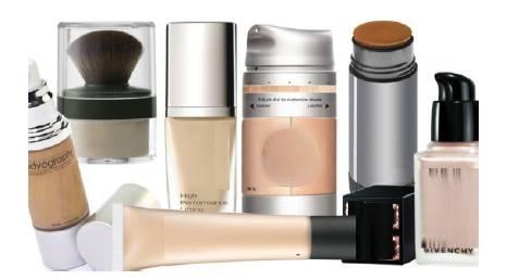 Foto mostrando diferentes bases para maquiagem