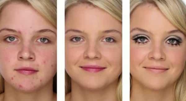 Foto mostrando defeito da pele disfarçados