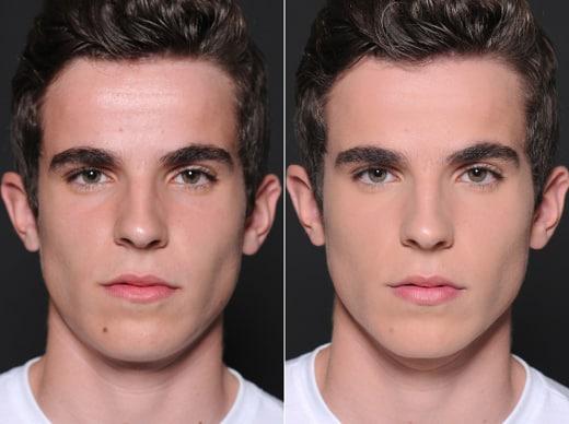 Foto mostrando homem sem e com maquiagem