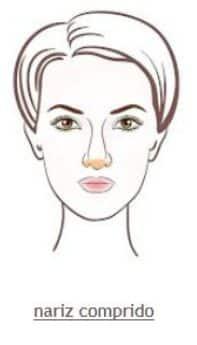 Foto mostrando como maquiar o nariz comprido