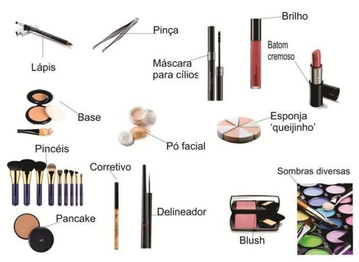 Foto mostrando Produtos mais comuns utilizados na maquiagem