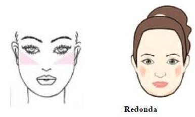 Figura mostrando maquiagem em rosto redondo