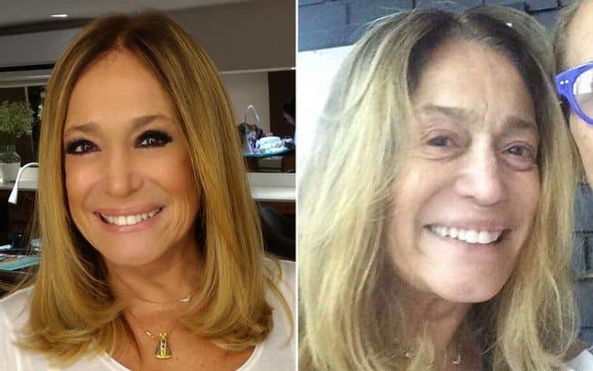 Foto mostrando a Susana Vieira com e sem maquiagem
