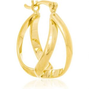 Brincos Rommanel banhados a ouro argola dupla com detalhes vazados medindo 2,4 cm - Cód 520981