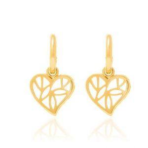 Brincos Rommanel banhados a ouro formado por fio bola, com coração vazado medindo 2,1 cm - Cód 522689