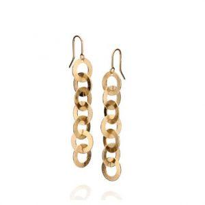 Brincos Rommanel banhados a ouro formado por 14 círculos (par) escovados unidos na vertical medindo 5,5 cm - Cód 523143