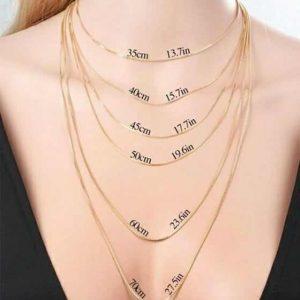 Principais medidas de colares femininos