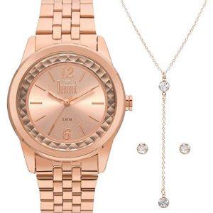 Relógio Dumont Feminino Rosê + Colar e Brincos