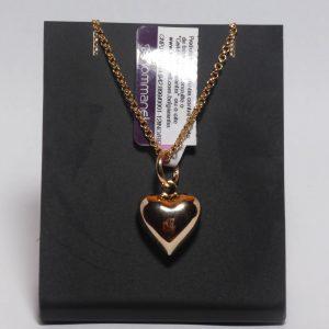 Conjunto Rommanel cordão elo português 42 cm (530677) e pingente coração liso (540870)