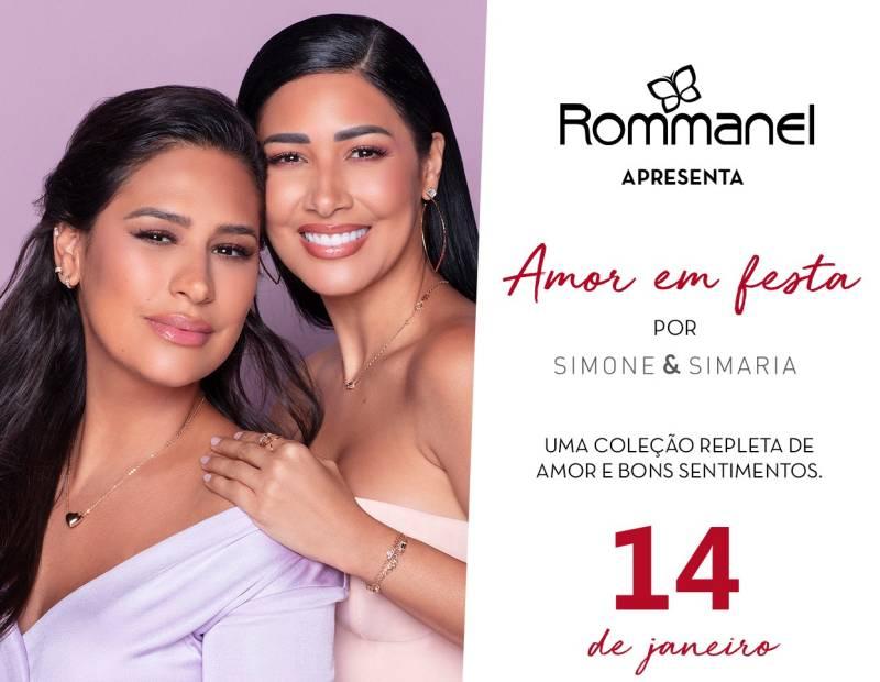 Lançamento nova coleção Rommanel Amor em Festa por Simone & Simaria dia 14/01/2021. Utilize o cupom novacolecao5 e ganhe 5% de desconto extra nas joias da coleção